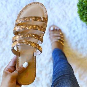 Rose Gold Rhinestone Embellished Strap Sandals